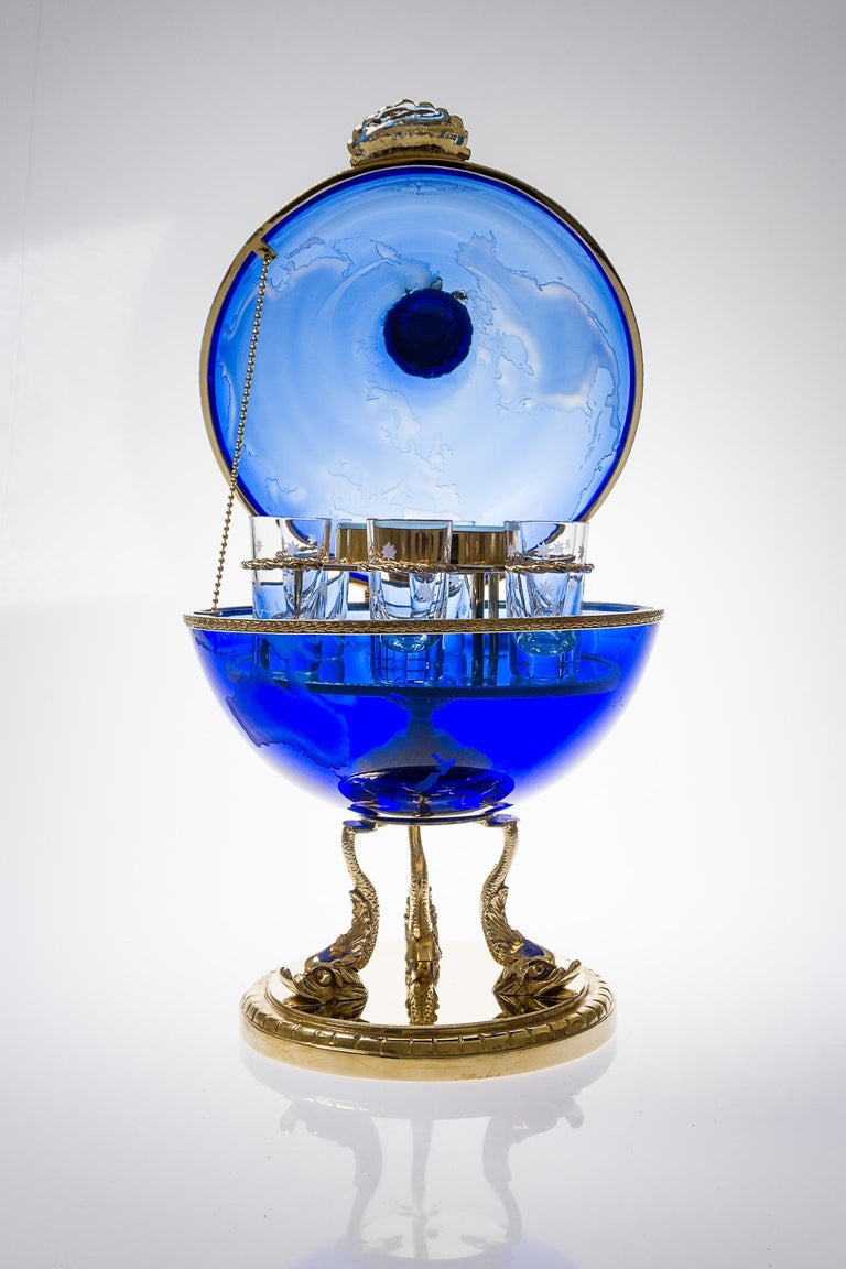 Blue Crystal Vodka & Caviar Cave With Covered 22-Carat Gold, Oriental-Style For Sale 2