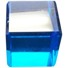 Blue Cut Crystal English Paperweight