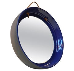 Blue Danish Ceramic Wall Mirror With Leather Strop from HE, 1970s