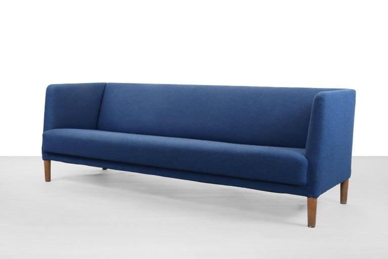 Mid-Century Modern Blue Danish Design Sofa by Hans J. Wegner for Johannes Hansen, 1960s, Denmark For Sale