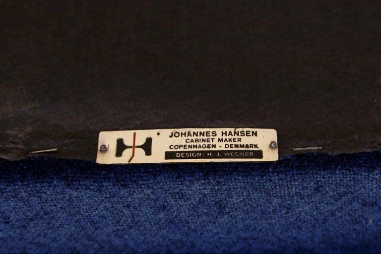 Mid-20th Century Blue Danish Design Sofa by Hans J. Wegner for Johannes Hansen, 1960s, Denmark For Sale