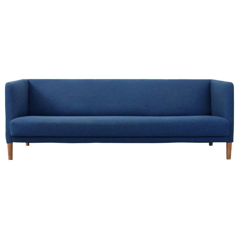 Blue Danish Design Sofa by Hans J. Wegner for Johannes Hansen, 1960s, Denmark For Sale