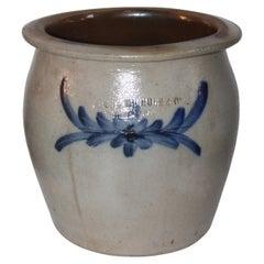 Blue Decorated Crock Moore, Nichols Co. Crock