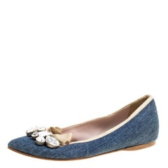 Blue Denim Crystal Embellished Bow Detail Pointed Toe Ballet Flats Size 36