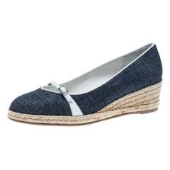 Blue Denim Finish Suede Audrey Wedge Espadrille Pumps Size 39.5