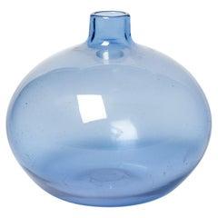 Blue Design Glass Vase by Alain & Marisa Bégou, 20th Century