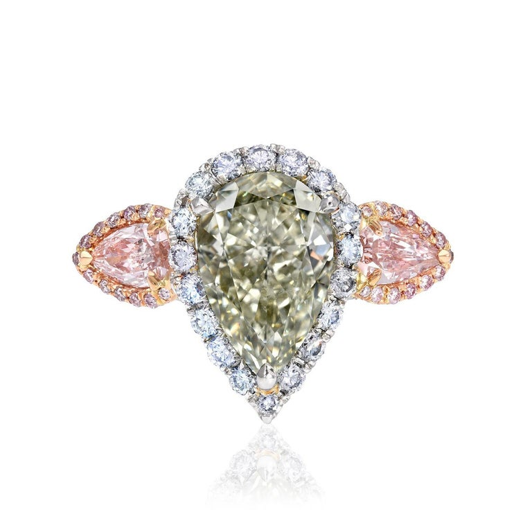 Modern Green Blue Diamond Ring 5 Carat GIA Certified For Sale