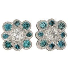 Blue Diamond Set Stud Earrings in 18 Carat White Gold
