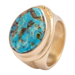 Blue Diamond Turquoise Signet Ring in 18 Karat Gold