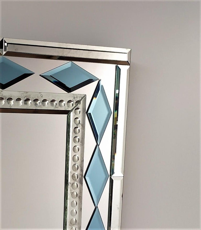 Other Blue Diamonds by Fratelli Tosi, Murano Glass Contemporary Mirror For Sale