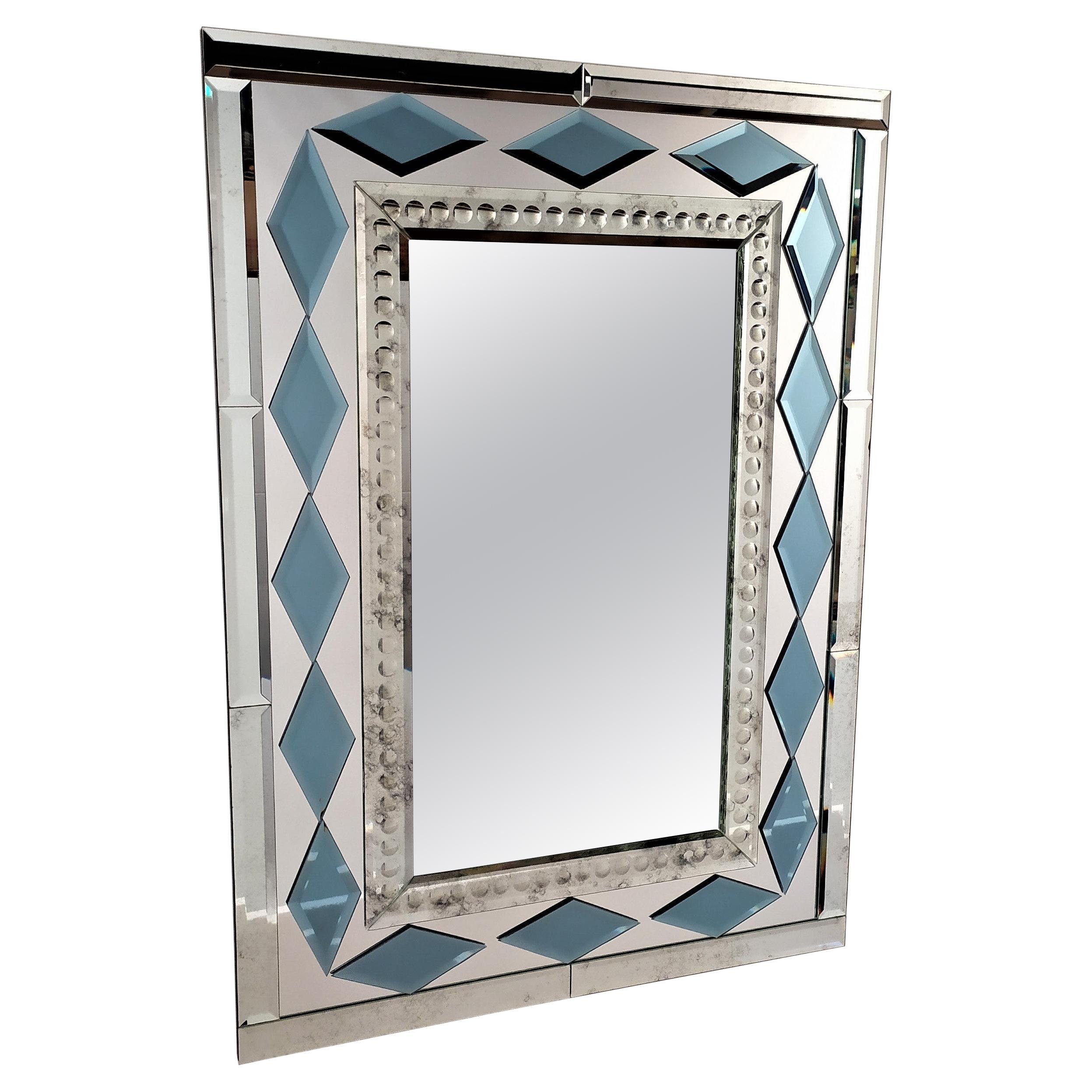 Blue Diamonds by Fratelli Tosi, Murano Glass Contemporary Mirror