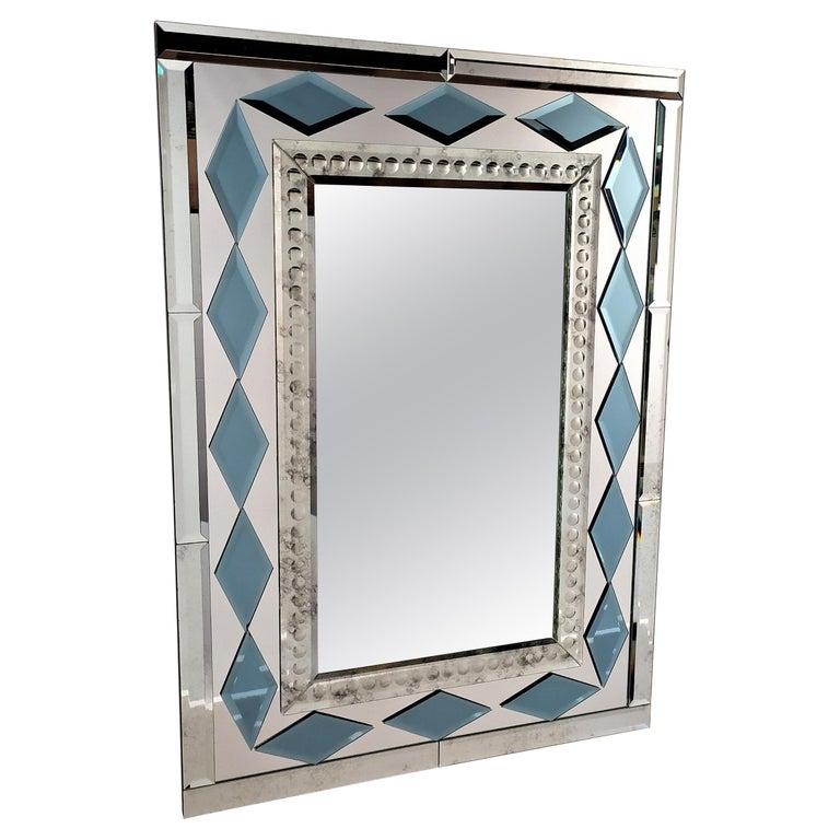 Blue Diamonds by Fratelli Tosi, Murano Glass Contemporary Mirror For Sale