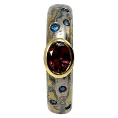 Blue Diamonds Pink Tourmaline 18 Karat Gold Sterling Silver Palladium Band Ring