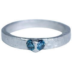 Blue Diamonds Set in Platinum Fashion Band Handmade Ring Gift for Man Woman Mom