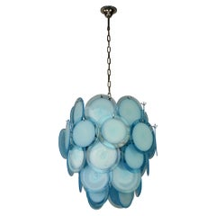 Blue Disc Murano Glass Chandelier, 36 Discs, Mid-20th Century