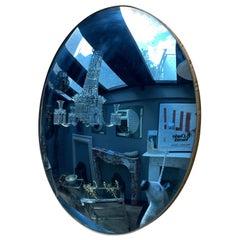 Blue Distressed Glass Circular Convex Mirror