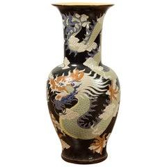 Blue Dragon Motif Altar Vase on Black Ground, Found in Vietnamese Temple