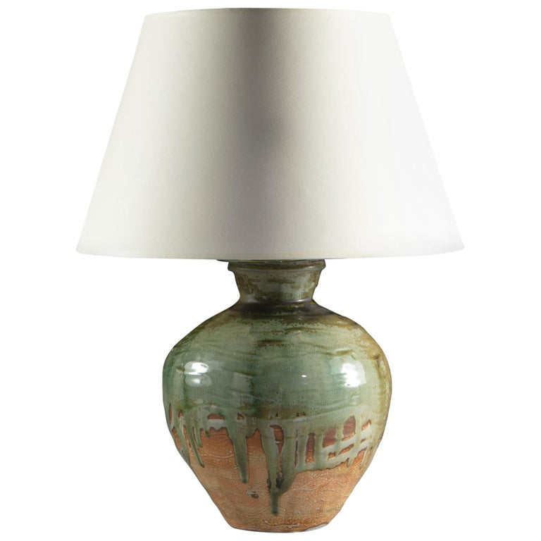 Blue Drip Glaze Art Pottery Vase as a Table Lamp For Sale