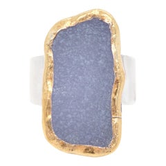 Blue Druzy-Set Gold and Sterling Ring