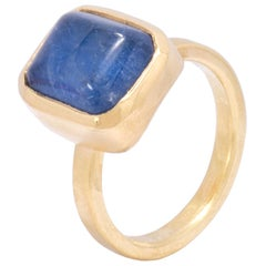 Blue Dumortierite Quartz Pillow Ring in 18 Karat Gold