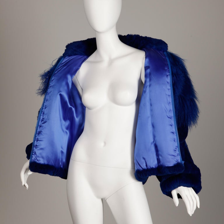 Blue Dyed Mongolian Lamb + Sheared Rabbit Fur Jacket For Sale 6
