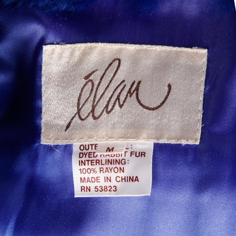 Blue Dyed Mongolian Lamb + Sheared Rabbit Fur Jacket For Sale 7
