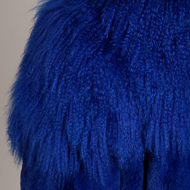 Blue Dyed Mongolian Lamb + Sheared Rabbit Fur Jacket In Excellent Condition For Sale In Sparks, NV