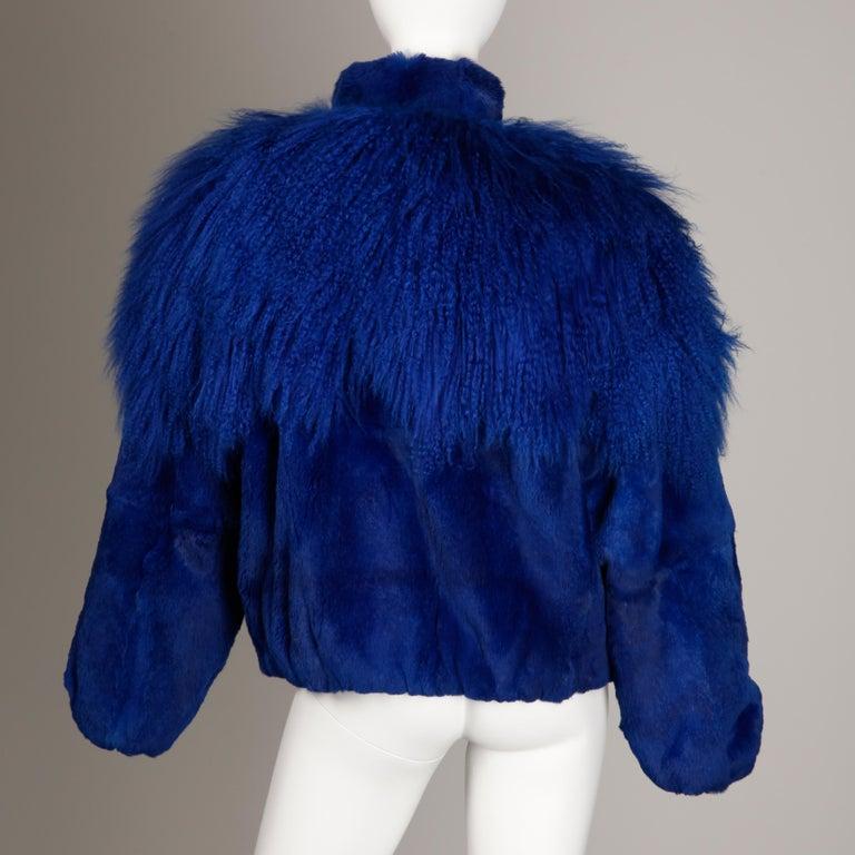 Women's Blue Dyed Mongolian Lamb + Sheared Rabbit Fur Jacket For Sale