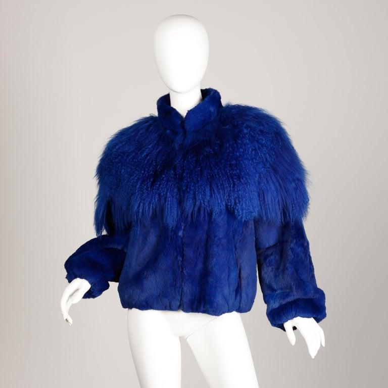Blue Dyed Mongolian Lamb + Sheared Rabbit Fur Jacket For Sale 1
