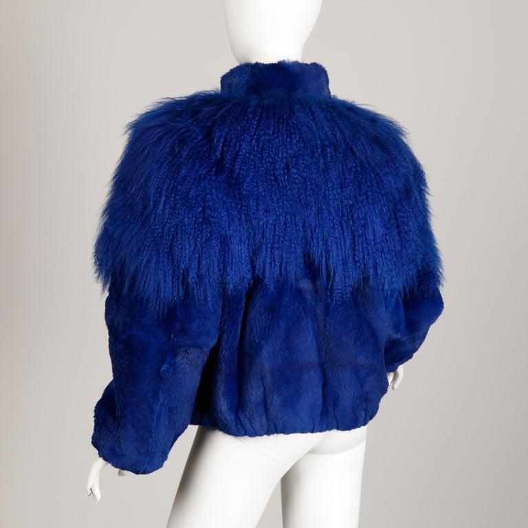 Blue Dyed Mongolian Lamb + Sheared Rabbit Fur Jacket For Sale 2