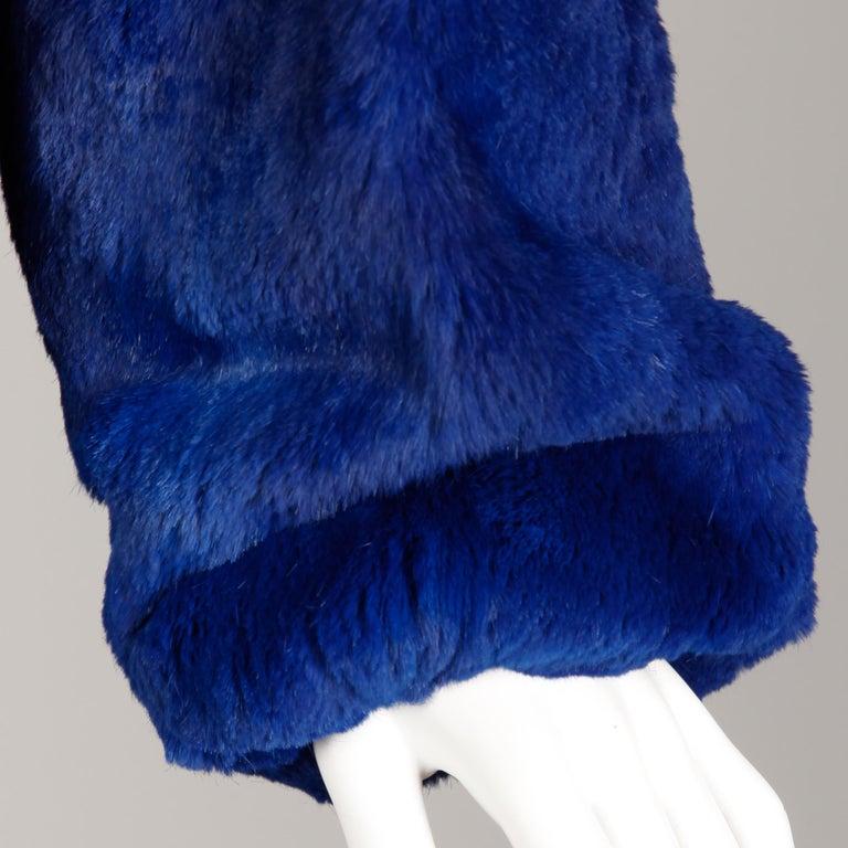 Blue Dyed Mongolian Lamb + Sheared Rabbit Fur Jacket For Sale 3
