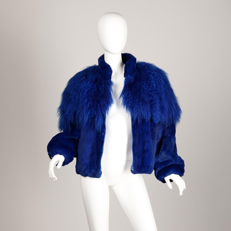 Blue Dyed Mongolian Lamb + Sheared Rabbit Fur Jacket For Sale 4