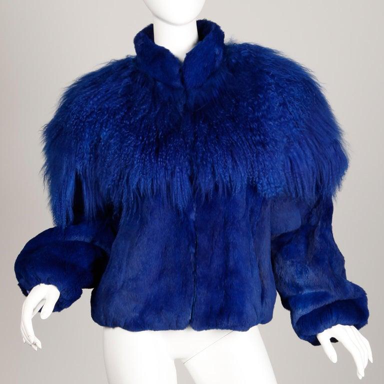 Blue Dyed Mongolian Lamb + Sheared Rabbit Fur Jacket For Sale 5