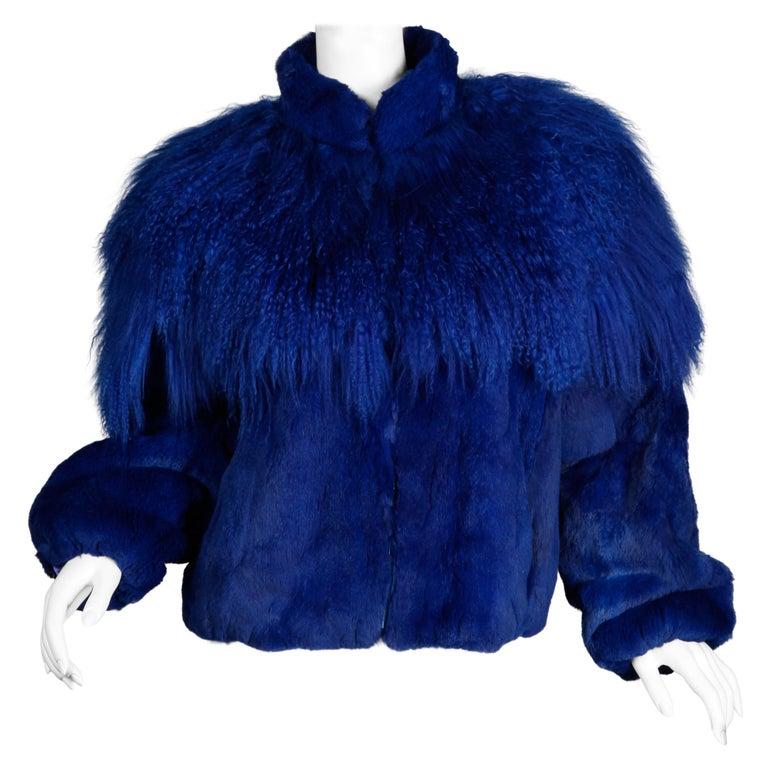 Blue Dyed Mongolian Lamb + Sheared Rabbit Fur Jacket For Sale