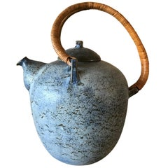 Blue Eigil Heinrichsen Ceramic Tea Pot and Cover with Wicker Handle