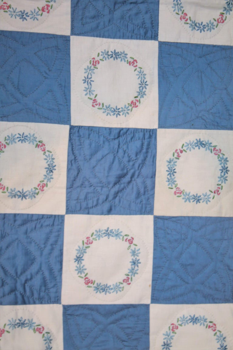 Hand-Crafted Blue Embroidered Floral Wreath Quilt, Polished Cotton For Sale