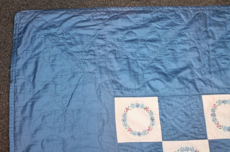 Blue Embroidered Floral Wreath Quilt, Polished Cotton In Good Condition For Sale In Los Angeles, CA