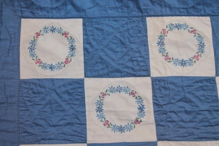 Mid-20th Century Blue Embroidered Floral Wreath Quilt, Polished Cotton For Sale