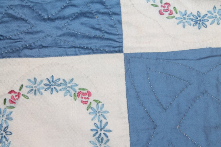 Blue Embroidered Floral Wreath Quilt, Polished Cotton For Sale 1