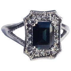 Blue Emerald Cut Sapphire White Gold Diamond Ring