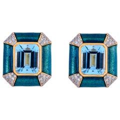 Blue Enamel 11.34 Carat Sky Blue Topaz Diamond 18 Karat Yellow Gold Stud Earring