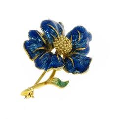 Blue Enamel 18 Karat Yellow Gold Vintage Flower Brooch Handcrafted in Italy