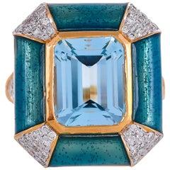 Blue Enamel 5.55 Carat Topaz and Diamond 18 Karat Yellow Gold Ring