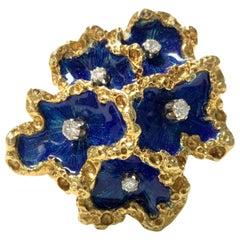 Blue Enamel and Diamond Cocktail Ring in 18 Karat Yellow Gold