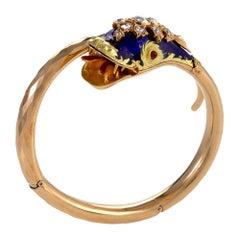 Blue Enamel and Diamond Serpent Bangle Bracelet