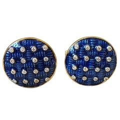 Blue Enamel and Natural Diamond Set in 14 Karat Gold