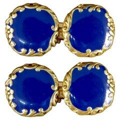 Blue Enamel Antique Victorian Cufflinks Set with 18 Carat Gold