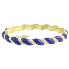 Blue Enamel Bangle Bracelet, 18 Karat Yellow Gold Oval Rope Design
