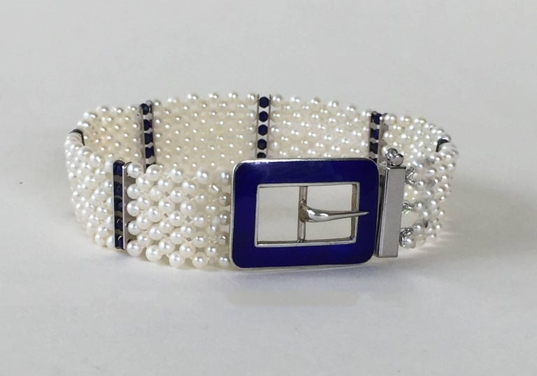 Blue Enamel Buckle with Woven Pearl Bracelet and Lapis Lazuli by Marina J. In New Condition For Sale In Beverly Hills, CA