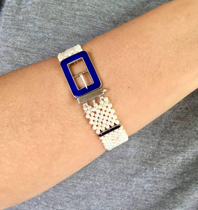 Blue Enamel Buckle with Woven Pearl Bracelet and Lapis Lazuli by Marina J. For Sale 2